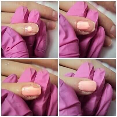 paznokcie hybrydowe krok po kroku krycie kolorem